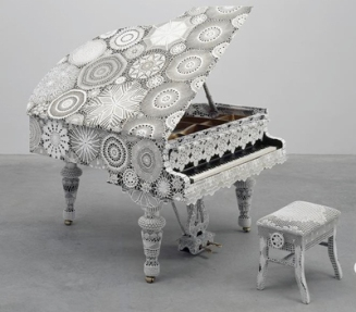 Crocheted piano and bench